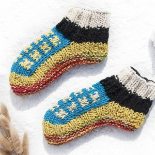 Hand-knitted pure wool knit socks / inner brushed striped socks / wool crocheted stockings / warm socks - natural color