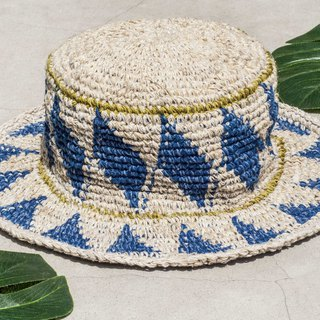 Hand crochet cotton hat fisherman hat visor straw hat knit hat - South American style blue sun light