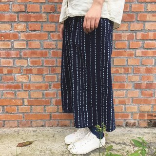 Handmade clothing natural vegetable dyes indigo blue dye cotton cloth quite simple wide-tube Culottes