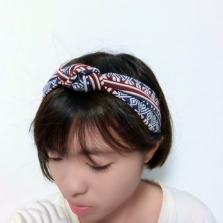 Red and blue totem ~ twist flowers hairband*SK*
