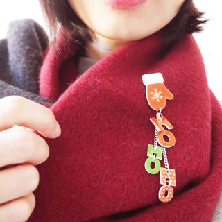 Christmas pin Xmas ~ HOHOHO Red Christmas pin brooch gift