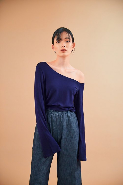 One shoulder top (navy)