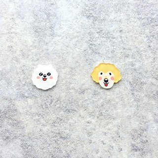 Pista Mound Hand-painted Earrings / Animals - Pomeranian + Gold