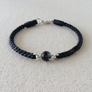 Sterling silver [lucky stone] black titanium crystal silk wax bracelet [eight stock] ** anti-small