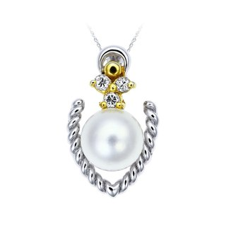 White 18K gold weave. Pearl fall