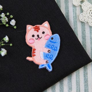 Catching big fish pink meow self-adhesive embroidered cloth stickers - Baby meow meow series