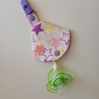 <Purple> Star Moon Gift Two-in-one Pacifier Clip < Pacifier dust bag + pacifier clips> Dual vanilla pacifier available 1 in