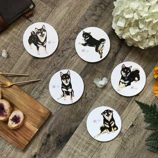 Black and Tan Shiba Ceramic coasters set