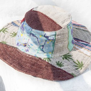 National wind hand-knitted cotton and linen cap knit hat fisherman hat sun hat straw hat - desert travel hat