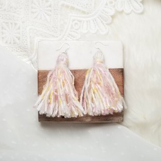 Mixed knit fringes earring (Cream/Dusty Pink/Baby Yellow/Rainbow Neps)