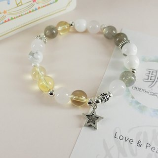 Gold Shine Natural Stone Silver Bracelet │ Yellowish Series - 玥 unicorn- Natural Stone Sterling Silver CZ Crystal Moonstone