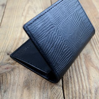 APEE leather handmade ~ business card holder ~ lizard striae ~ black