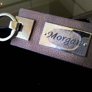 Fingerprint Lettering Leather Keyring / 925 Sterling Silver / Customized / Gift
