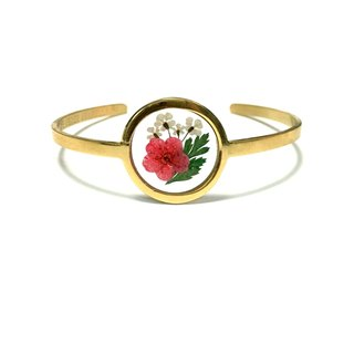 Pressed Flower Stainless Steel Bangle