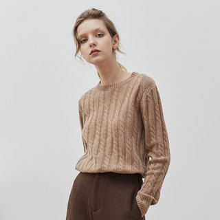 Camel 4 color Australian cashmere wool mercerized round neck wool vintage twisted close-fitting wearing a knit sweater