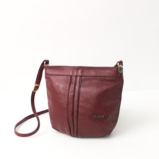 Vintage Leather Pretty Maroon Side Backpack Backpack European Antique Bag European Vintage Bag