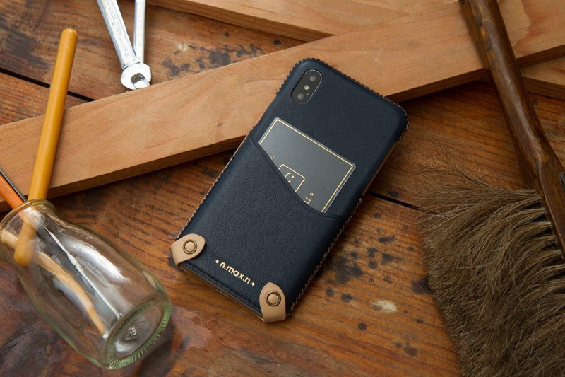 iPhone X / Xs Classic Mini Leather Case - Navy
