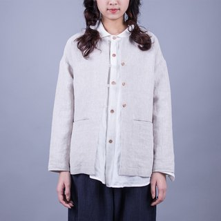 The linen color wash pure linen jacket