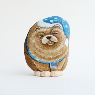Chow Chow dog stone painting.