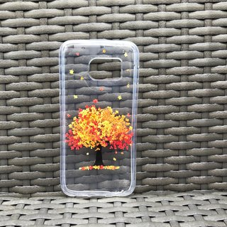 Samsung Galaxy S7 Handmade Pressed Flowers Case Orange-Red Tree case 009