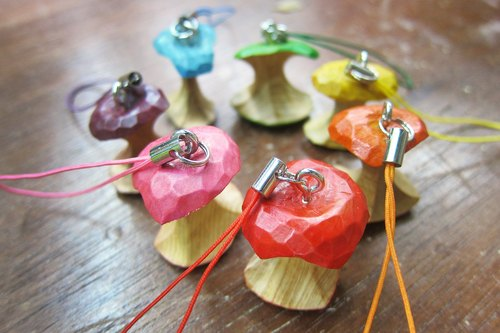 Wooden eating apple charm (simple style)--woodcut--handmade - hand made [optional color]