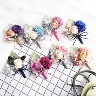 Eight happy wedding flowers silk corsage brooch groom bride groom bridesmaid brooch