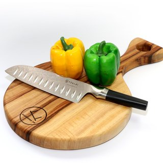 Australia artisans natural antibacterial camphor PIZZA type Chopping board + meal Knife