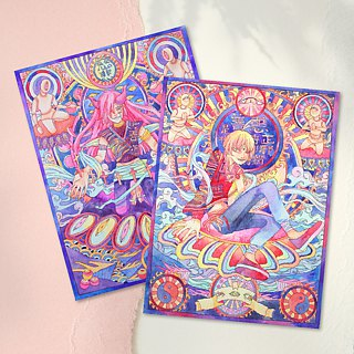 Thangka hand drawn watercolor postcard 2 in