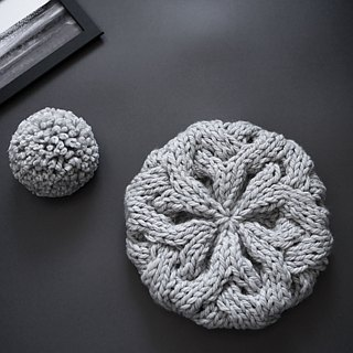 Thick needle twist detachable ball knit wool beret cap - ice ash