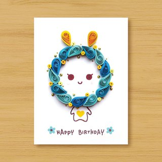 Handmade Roll Paper Card _ Blessing Rabbit _ Blue..... Birthday Card, Thank You Card, Valentine Card