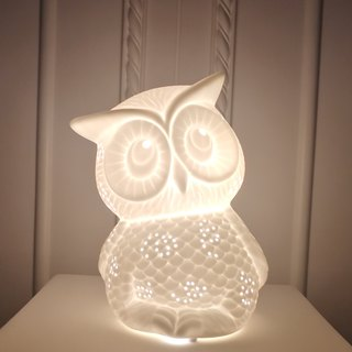 White Translucent Ceramic Owl Table Lamp (Small) - Healing System