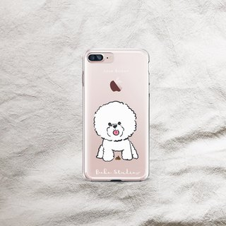 Bichon dog poop in transparent soft shell phone case
