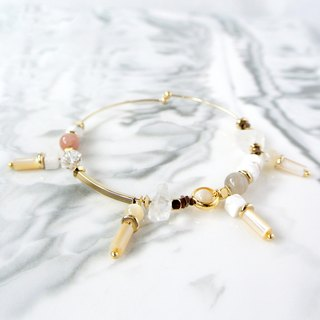 Simple system. Simple shell white crystal sun stone bracelet