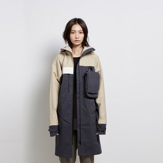 Pocket all the way - hooded asymmetrical back trench coat - gray - limited models