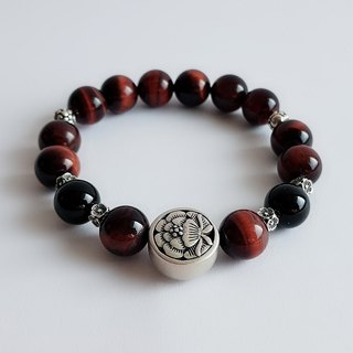Natural Mineral Red Tiger Eye Black Onyx 925 Silver ‧ Bracelet