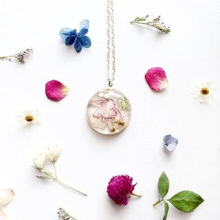 Dried flowers resin necklace / handwriting