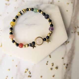 Cosmic Chakra [Spiritual Handicraft] Ten Crystal Natural Stones. Red Yellow Black and White Agate. Sun Stone. Amethyst. Green East Blue. Blue Blue Stone. Blue Sand Stone. Brass. Metal. Unisex Neutral Single-Loop Bracelet