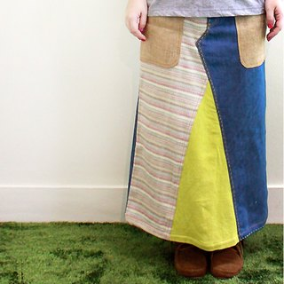 ☆ Hammock ☆ 彡 Denim patchwork long skirt