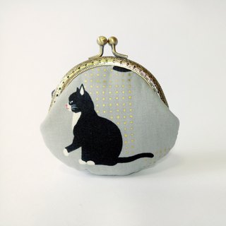 [footprint cat] mouth gold bag purse clutch bag