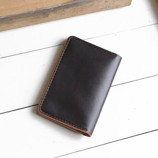 Minimal ochre black hand dyed yak leather handmade passport holder