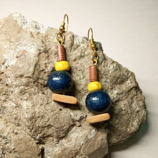 Vintage dyed wood earrings