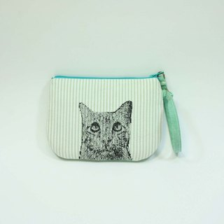 Hand-embroidered purse 01- cat