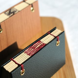 Pocket imitation wood grain imitation leather waterproof plastic surface hard leather hardcover hand-sewn notebook