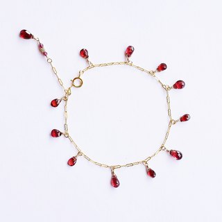 Gorgeous Garnet Multi Gem Bracelet 14K GF Translucent Sexy Classical Charm Natural Stone Light Jewelry