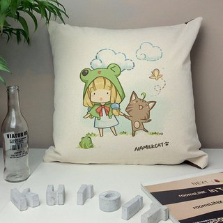 [Illustrator / Nami cat] sunday p & w cotton canvas pillow - home decoration