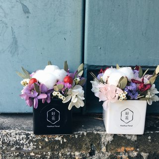 [Good flower] black and white pots of purple powder does not fall hydrangea combination of cotton graduation gift birthday gift (S) into the