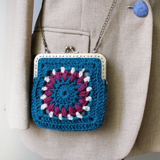 Wool coin purse mouth gold bag double chain square lake blue