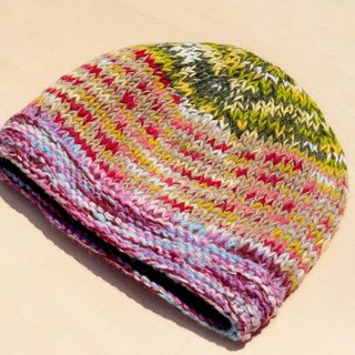 Christmas gift hand made pure wool hat / knitted brushed fur hat / handmade hair hat / wool cap (made in nepal) - gradient rainbow color