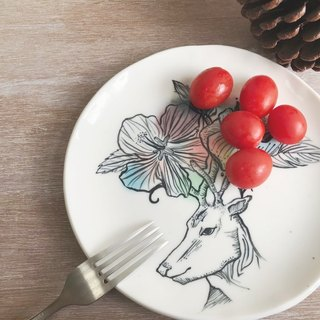 Handmake Ceramic plate with deer patten