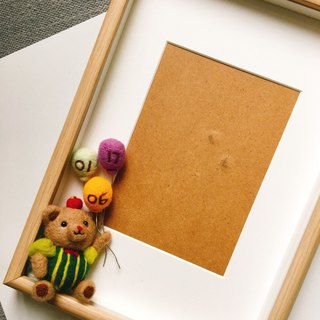 Ringo clown bear and baby birthday balloon memorial photo frame